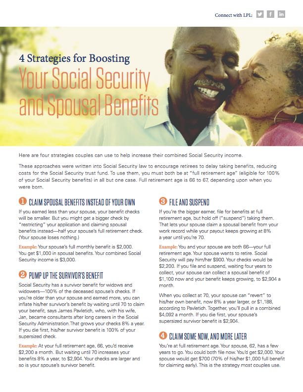 4 Strategies for Boosting Your Social Security and Spousal Benefits